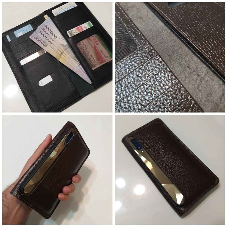 کیف پول و موبایل چرم اصل (قهوه ای تیره)